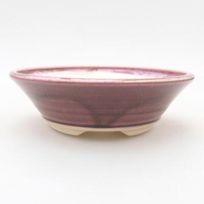 Keramische Bonsai-Schale 14,5 x 14,5 x 4 cm, burgunderrote Farbe - 1