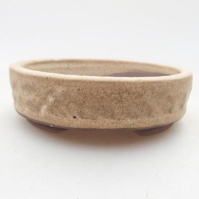 Keramische Bonsai-Schale 9 x 9 x 2,5 cm, beige Farbe - 1