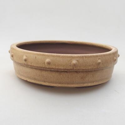 Keramik Bonsai Schüssel 18 x 18 x 5 cm, beige Farbe - 1
