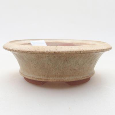 Keramische Bonsai-Schale 11,5 x 11,5 x 3,5 cm, beige Farbe - 1