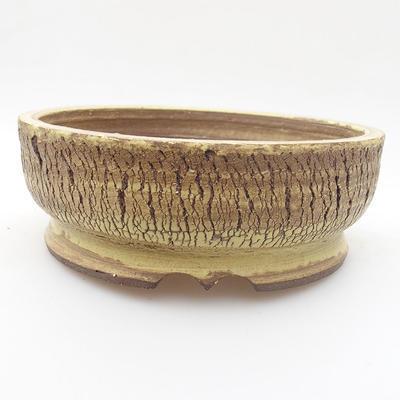 Keramik Bonsai Schüssel 16 x 16 x 5 cm, gelbe Farbe - 1