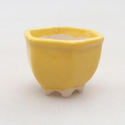 Mini Bonsai Schüssel 3,5 x 3,5 x 3 cm, Farbe gelb - 1