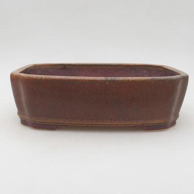 Keramische Bonsai-Schale 20,5 x 17,5 x 6 cm, braune Farbe - 1