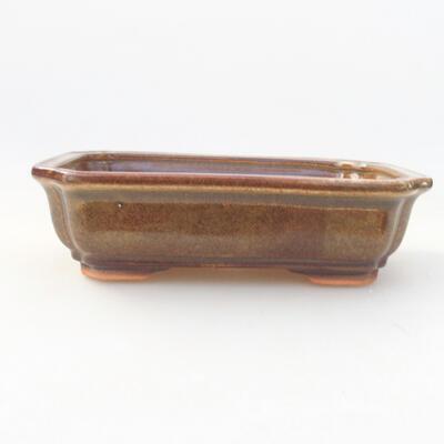 Keramische Bonsai-Schale 17 x 13,5 x 4,5 cm, braune Farbe - 1
