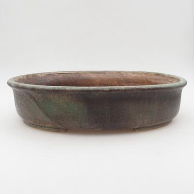 Keramische Bonsai-Schale 32 x 27,5 x 7,5 cm, Farbe braun-grün - 1