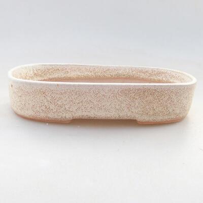 Keramische Bonsai-Schale 15,5 x 10,5 x 3 cm, beige Farbe - 1