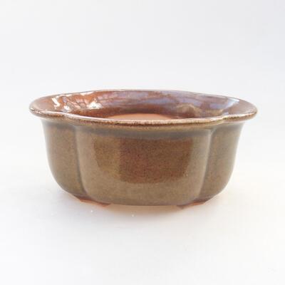 Keramische Bonsai-Schale 13 x 10,5 x 5 cm, braune Farbe - 1