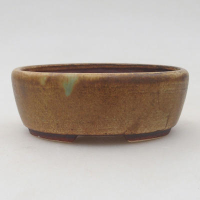 Keramische Bonsai-Schale 9,5 x 8,5 x 3,5 cm, Farbe braun-grün - 1