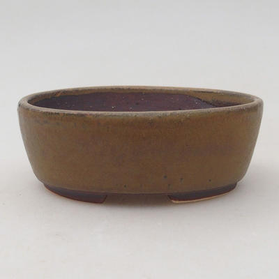 Keramische Bonsai-Schale 10 x 8,5 x 3,5 cm, braune Farbe - 1