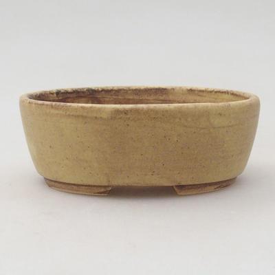 Keramische Bonsai-Schale 10 x 8,5 x 3,5 cm, Farbe braun-gelb - 1