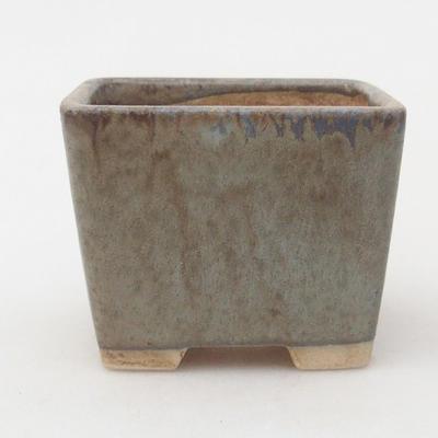 Keramische Bonsai-Schale 6,5 x 6,5 x 5 cm, braun-blaue Farbe - 1