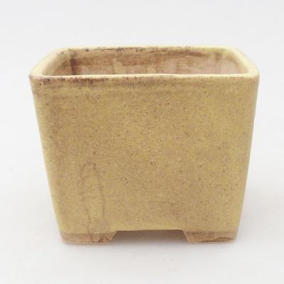 Keramische Bonsai-Schale 6,5 x 6,5 x 5 cm, Farbe braun-gelb - 1