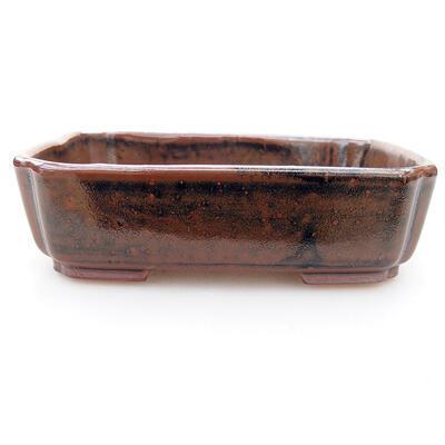 Keramische Bonsai-Schale 15 x 12 x 4 cm, braun-schwarze Farbe - 1