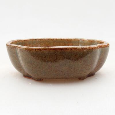 Keramische Bonsai-Schale 10 x 8,5 x 3 cm, braune Farbe - 1