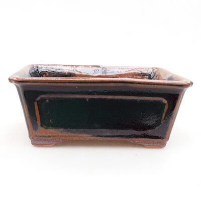 Keramische Bonsai-Schale 13 x 10 x 5 cm, Farbe schwarzbraun - 1