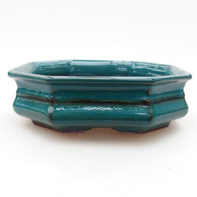 Keramische Bonsai-Schale 13 x 13 x 4 cm, Farbe grün - 1