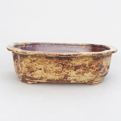 Keramische Bonsai-Schale 23,5 x 20 x 7 cm, gelbbraune Farbe - 1