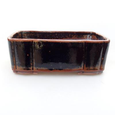 Keramische Bonsai-Schale 20 x 16,5 x 6,5 cm, braun-schwarze Farbe - 1