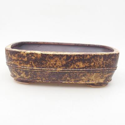 Keramische Bonsai-Schale 24 x 19 x 7 cm, Farbe gelbbraun - 1