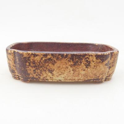 Keramische Bonsai-Schale 15 x 11 x 4 cm, Farbe braun-gelb - 1
