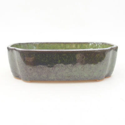Keramische Bonsai-Schale 17,5 x 13,5 x 5 cm, Farbe grün - 1