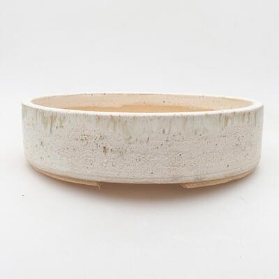 Keramische Bonsai-Schale 22,5 x 22,5 x 6 cm, beige Farbe - 1