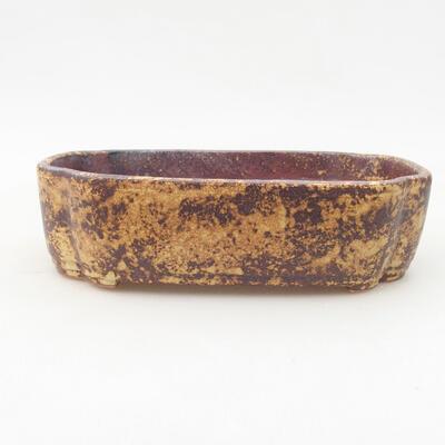 Keramische Bonsai-Schale 17,5 x 13,5 x 5 cm, Farbe braun-gelb - 1