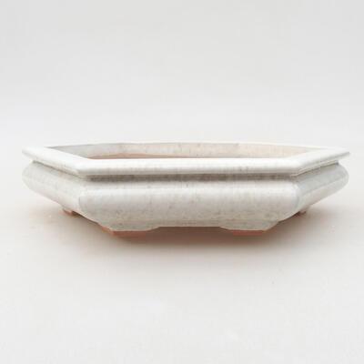 Keramische Bonsai-Schale 18 x 16 x 3,5 cm, weiße Farbe - 1