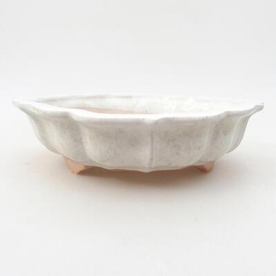 Keramische Bonsai-Schale 17 x 17 x 4,5 cm, weiße Farbe - 1