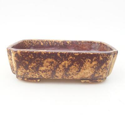 Keramische Bonsai-Schale 15 x 11,5 x 4 cm, Farbe braun-gelb - 1