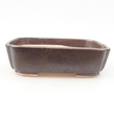 Keramische Bonsai-Schale 15 x 11,5 x 4 cm, braune Farbe - 1