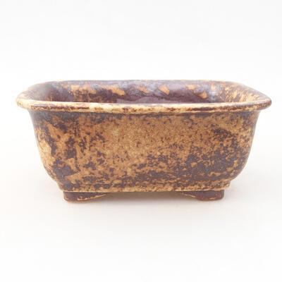 Keramische Bonsai-Schale 13 x 10 x 5 cm, Farbe braun-gelb - 1
