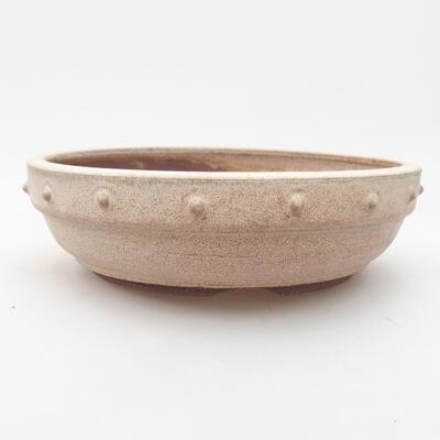Keramische Bonsai-Schale 19,5 x 19,5 x 5,5 cm, beige Farbe - 1