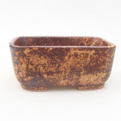 Keramische Bonsai-Schale 13 x 10 x 5,5 cm, Farbe braun-gelb - 1
