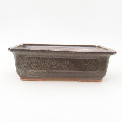 Keramische Bonsai-Schale 16,5 x 11 x 5 cm, Farbe braun-grün - 1