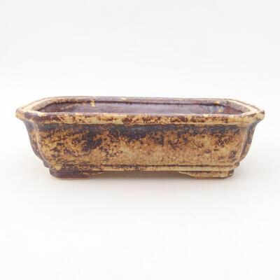 Keramische Bonsai-Schale 17 x 13 x 4,5 cm, Farbe braun-gelb - 1
