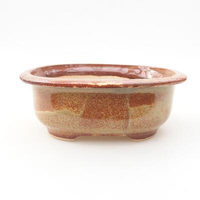 Keramische Bonsai-Schale 14 x 11 x 5 cm, Farbe braun - 1