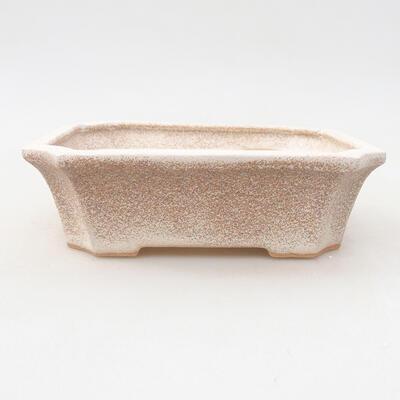 Keramische Bonsai-Schale 12,5 x 10 x 4 cm, beige Farbe - 1