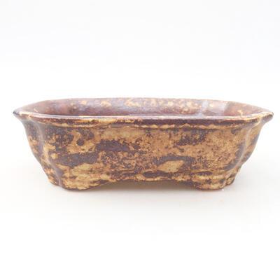 Keramische Bonsai-Schale 15 x 12 x 4 cm, Farbe braun-gelb - 1