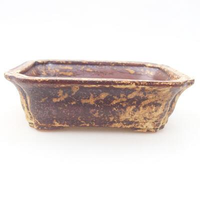 Keramische Bonsai-Schale 12 x 9,5 x 4 cm, Farbe braun-gelb - 1