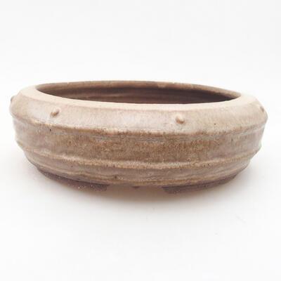 Keramische Bonsai-Schale 17,5 x 17,5 x 6 cm, braune Farbe - 1