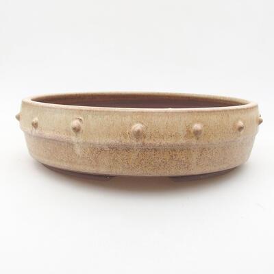 Keramische Bonsai-Schale 21,5 x 21,5 x 5,5 cm, beige Farbe - 1