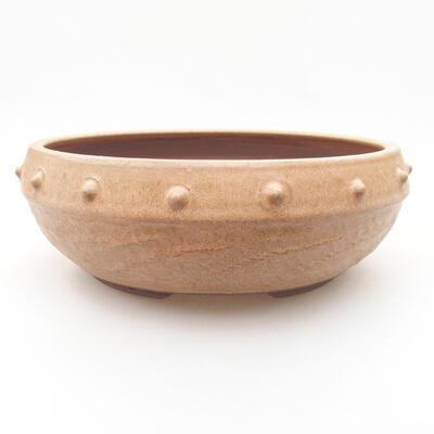 Keramische Bonsai-Schale 19,5 x 19,5 x 7 cm, beige Farbe - 1