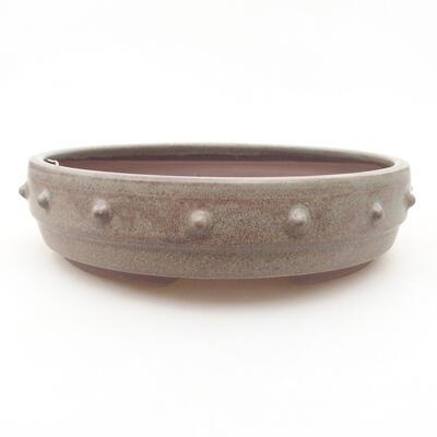 Keramische Bonsai-Schale 18 x 18 x 4,5 cm, graue Farbe - 1
