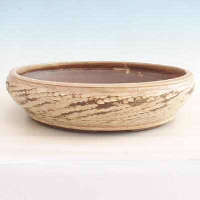 Keramische Bonsai-Schale 36,5 x 36,5 x 9,5 cm, beige Farbe - 1