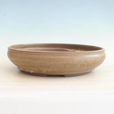 Keramische Bonsai-Schale 37,5 x 37,5 x 9 cm, braune Farbe - 1