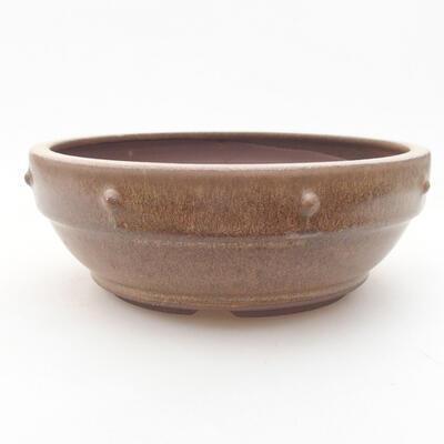 Keramische Bonsai-Schale 16 x 16 x 5,5 cm, braune Farbe - 1