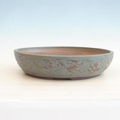 Keramische Bonsai-Schale 38 x 38 x 8,5 cm, Farbe grün-blau - 1