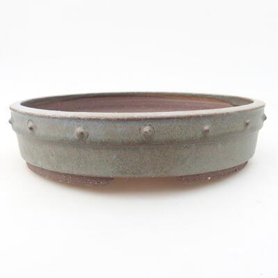 Keramische Bonsai-Schale 22 x 22 x 5 cm, Farbe grau - 1