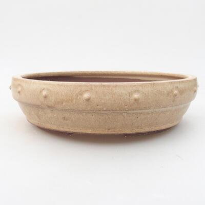 Keramik Bonsai Schüssel 20 x 20 x 5 cm, beige Farbe - 1
